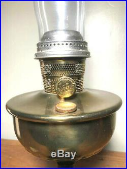 Vintage Aladdin Nu Model B Center Draft Kerosene Mantle Lamp Brass With Chimney