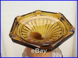 Vintage Aladdin Oil Lamp model B Corinthian 1935-1936 Dark Amber & Clear Yellow