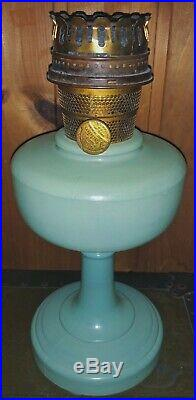 Vintage Aladdin Oil Mantle Lamp Nu-Type Model B Green Moonstone Chicago, IL