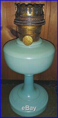 Vintage Aladdin Oil Mantle Lamp Nu-Type Model B Green Moonstone Chicago, IL