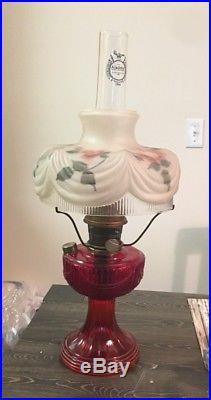 Vintage Aladdin Red Amberina B Kerosene Lincoln Drape Lamp