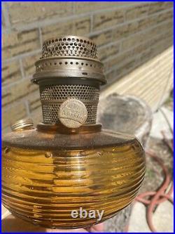 Vintage Aladdin Rootbeer Brown Crystal Kerosene Oil Lamp