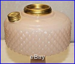 Vintage Aladdin Rose Alacite White Pink Diamond Quilt Kerosene Oil Table Lamp