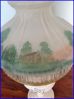 Vintage Aladdin Tall Lincoln Drape Pink Kerosene Lamp Log Cabin Shade 601S