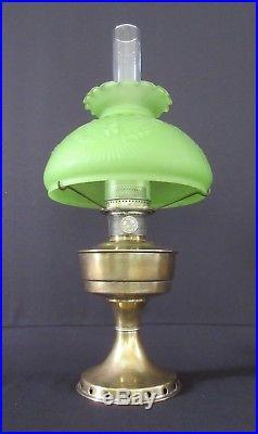 Vintage Aladdin UK Model 12 Kerosene Oil Lamp with Frosted Green Eagle Glass Shade