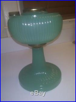 Vintage Aladdin Vertique Green Moonstone Oil Lamp