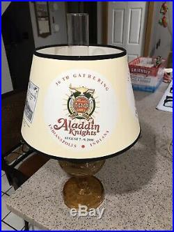 Vintage Aladdin Washington Drape Amber Glass Kerosene Lamp