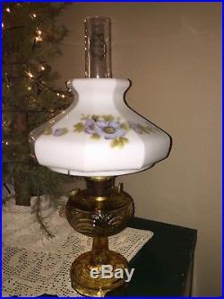 Vintage Aladdin Washington Drape Amber Kerosene Lamp B Burner Hand Painted Shade