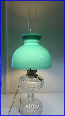Vintage Aladdin Washington Drape Clear Oil Lamp Green Shade Chimney Electrified