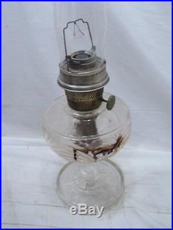 Vintage Aladdin Washington Drape Nu-Type Lamp Crystal Glass Kerosene Light Oil