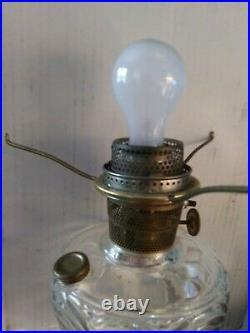 Vintage Aladdin Washington Drape Pattern Nu type Model B Clear Glass Oil Lamp