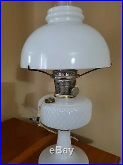 Vintage Aladdin White Moonstone Diamond Quilt Kerosene Lamp Twist Chimney Shade
