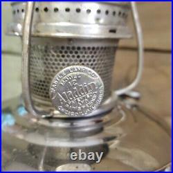 Vintage Aladdin model 12 nickel plated kerosene oil lamp