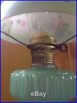 Vintage Antique Aladdin Cathedral Green Moonstone Jadeite Glass Oil Lamp & Shade