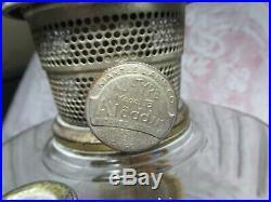 Vintage Antique Aladdin Kerosene Lamp Corinthain Clear Pattern Amber Bottom