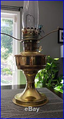 Vintage Antique Aladdin Model 23 Brass Kerosene Oil Lamp + Milk Glass Shade
