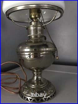 Vintage Antique Mantle Lamp Co. Aladdin White Kerosene Oil Lamp Electric