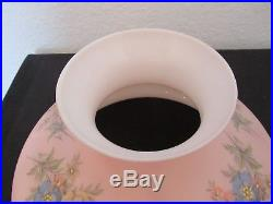 Vintage B & H Kerosene Oil Lamp Shaded Pink 10 Fitter Shade Aladdin Chimney