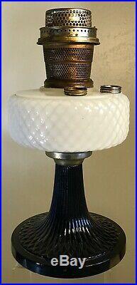 Vintage Glass Kerosene Oil Lamp Aladdin Moonstone Black Base