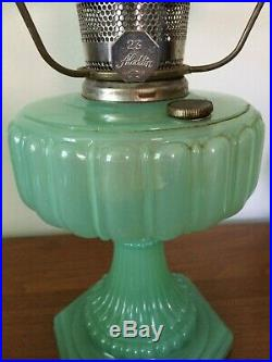 Vintage Green Moonstone Aladdin Lamp Model B-115 with Shade
