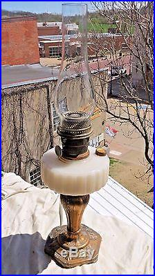 Vintage Majestic White Moonstone Glass Aladdin Kerosene Lamp With Metal Base