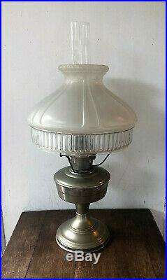 Vintage Mantle ALADDIN Model #12 Brass Column Chimney Table Oil Lamp w Shade +++