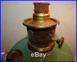 Vintage Old Aladdin Jade Green Vertique Kerosene Lamp w Model 23 Burner