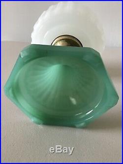 Vintage Original ALADDIN White / Green Moonstone Corinthian Lamp Base NICE! MINT