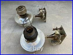 Vintage PAIR Aladdin Model No. 23 Railroad Caboose Kerosene Oil Lamp WithBrackets
