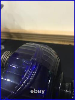 Vintage Scalloped Foot Tall Cobalt Blue Aladdin Lincoln Drape Lamp B76