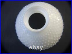 Vintage White Milk Glass Hobnail Kerosene Aladdin Lamp Ruffled Shade 1900's