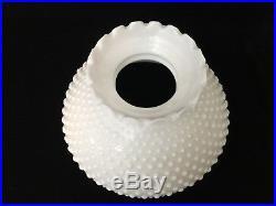 Vintage White Milk Glass Hobnail Kerosene GWTW Aladdin Lamp Ruffled Shade