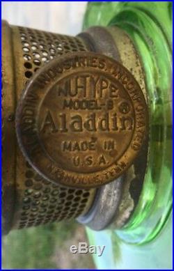 Vtg 35 Corinthian Green Glass Aladdin Nu Type Model B Kerosene Oil Mantle Lamp