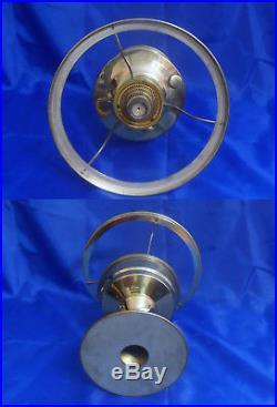 Vtg ALADDIN Model #23 Brass Column Table Oil Lamp With Chimney & Shade