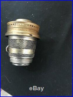 Vtg Aladdin 1934 Cathedral Kerosene Oil Lamp Pastel Flesh Moonstone 21c Burner