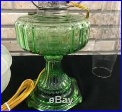 Vtg Aladdin 1934 Green Cathedral Kerosene Lamp Hand Painted Shade Electrified