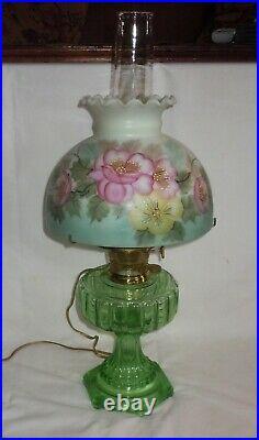 Vtg Aladdin Corinthian Green Glass Kerosene/Oil Lamp Hand Painted Shade/Electric