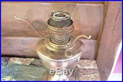 Vtg Aladdin Kerosene Oil Mantle Lamp Model 12 Nickel & White Swirl Glass Shade