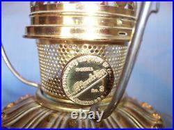 Vtg Aladdin Mantle Co No 8 Electrified Oil Kerosene Brass Lamp White Satin Shade