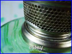 Vtg Aladdin Mantle Lamp CATHEDRAL GREEN Crystal 1934 Model B Kerosene Oil Excell