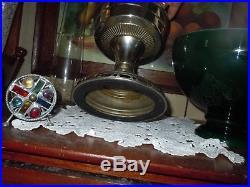 Vtg Aladdin Model 12 Mantle Lamp Co withLox-On Chimney/Emeralite Cased Green Shade