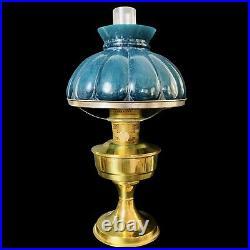 Vtg Aladdin Model 23 ca 1970 Kerosene Lamp with Green Glass Shade & Chimney 20H