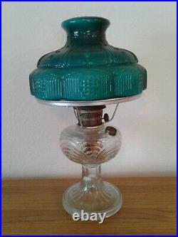 Vtg Aladdin Washington Drape Clear Glass Base Kerosene Oil Lamp