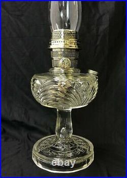 Vtg Antique Aladdin Washington Drape Oil Lamp Model B B-53 Crow Foot Clear Glass