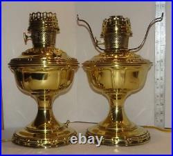 Vtg Brass Aladdin Hurricane Oil Lamps Kerosene Parlor Lamps Electrified Pr
