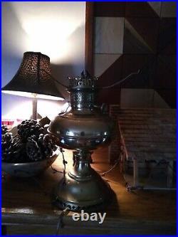Vtg Brass Aladdin Oil Lamps Kerosene Parlor Lamps TURNED Electrified. WORKS GRE