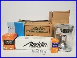 Vtg NOS NIB Aladdin Chrome-plated Brass Heritage Lamp S2301 Oil Kerosene Mantle