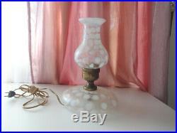 Vtg Polka Coin Dot Opalescent Milk Glass Kerosene Oil Aladdin Style Electro Lamp