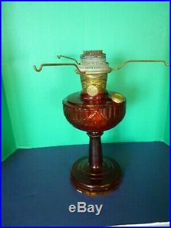 Vtg Red Lincoln Drape Aladdin Lamp with B Burner Kerosene