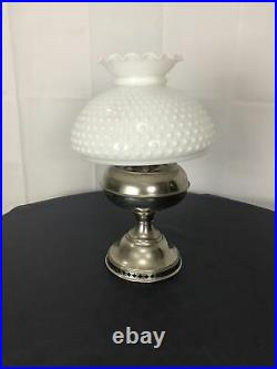 White Milk Glass Hobnail Student Oil Kerosene Rayo Aladdin Silver TONE vintage